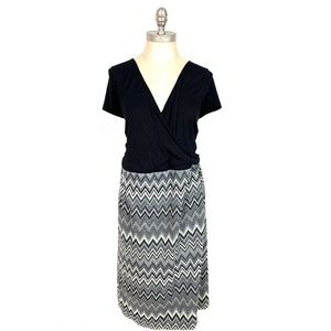 Modcloth Womens Dress Black 3X Retro Pinup Zig Zag